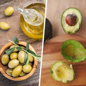 olives in a bowl and a glass of oil beside, and a play of sliced avocadoes