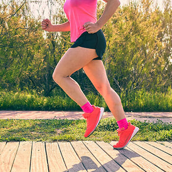 leg view of a woman doing running exercises