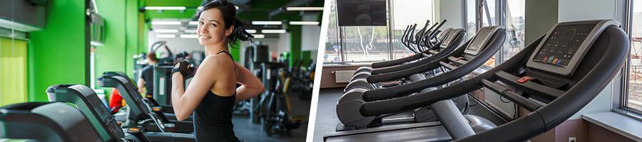 woman on a treadmill and a row of treadmills