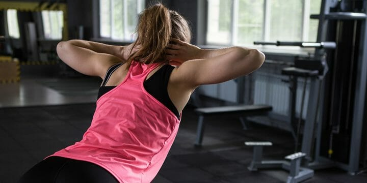 A woman doing back hyperextension