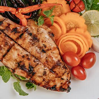 Chicken steak with carrot slices