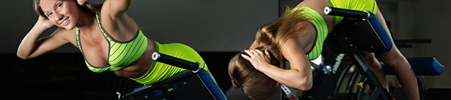 A woman doing a tutorial for hyperextension for back